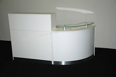 New High Quality Reception Desk In White ,curved Glass Unit.
