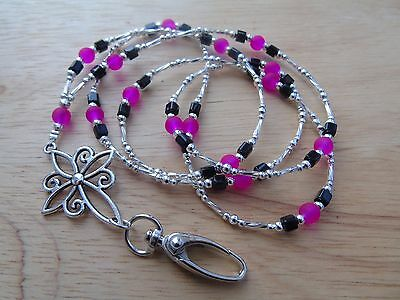 Beaded Pink Black Lanyard Necklace For ID Badge / Pass, Card Holder.