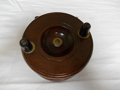 """VINTAGE 3.5"""" STRAPBACK WOODEN CENTREPIN Reel --- In good used condition."""
