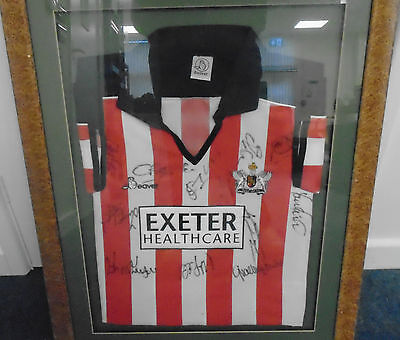 02 ~ Exeter ~ City ~ Football ~ Club ~ 1999-2000 ~ Shirt ~ Autographed ~ Framed