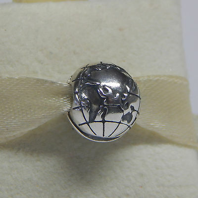 New Authentic  Pandora 791182 Globe Clip Sterling Silver Charm Box Included
