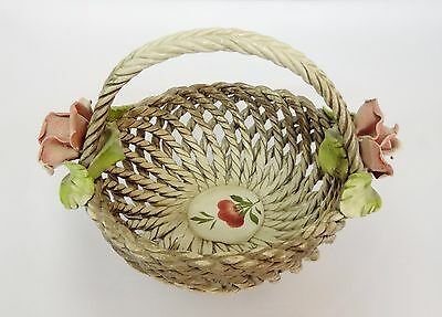 Capodimonte Weaved Porcelain Basket With Roses �� Made In Italy Numbered B/335
