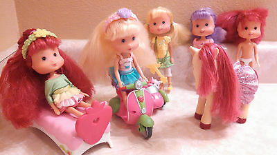 """Strawberry Shortcake Rockaberry Roll  6"""" Dolls Lot With Horse Motorcycle & More"""