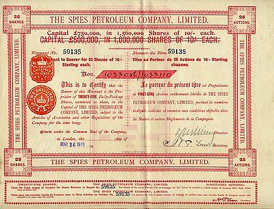 Russie / Russia / Lot : 4 X The Spies Petroleum Company Limited 1911