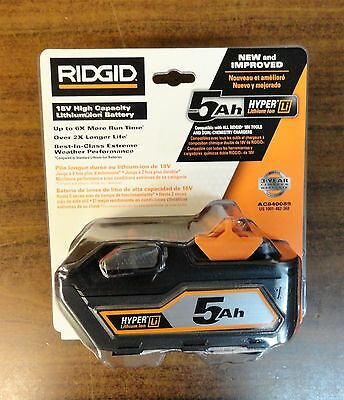 NEW Sealed RIDGID 18-Volt 5.0Ah High Capacity HYPER Lithium-Ion Battery AC840089