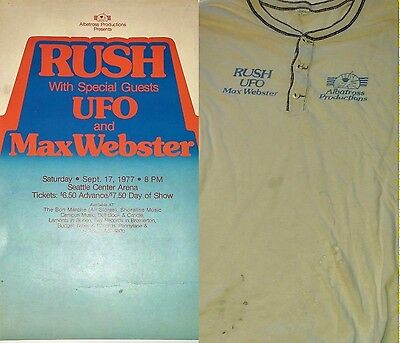 *RaRe Vtg 1977 RUSH ufo Max Webster Seattle CONCERT POSTER - PASS - (2) SHIRTs