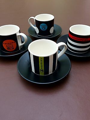 Set of 4 Friends TV Show Espresso Cups and Saucers Warner Bros 2000.
