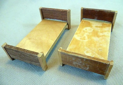 Vintage Dolls House Barton/Caroline's Home/Lundby Pair Of Wooden Single Beds