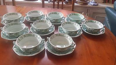 """Adams Calyx ware """"Chinese Garden"""" soup bowls two handles & saucers"""