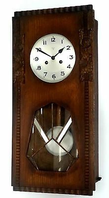 Antique Lovely Old  German Made Mauthe Wooden Wall Clock