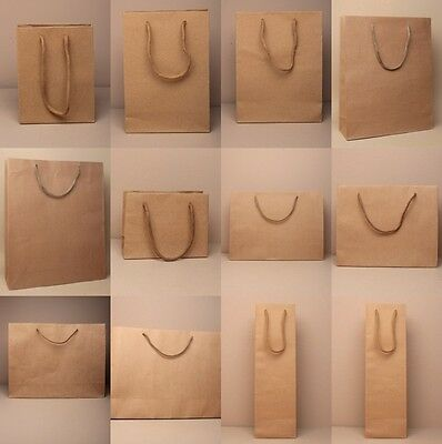 Pack Of Natural Brown Kraft Bags With Cord Handles ; Shop, Present, Loot, Gift