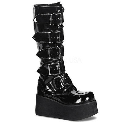 Demonia Trashville 518 Ladies Goth Punk Cyber 5 Buckled Black Shiny Knee Boots