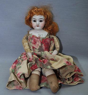 Antique Doll Bisque Head Leather Body Sleepy Brown Eyes Red Hair 12""