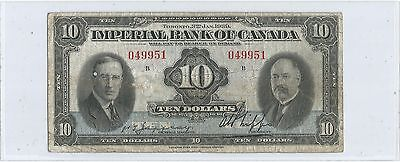 1939 Imperial Bank Of Canada Ten Dollar Note