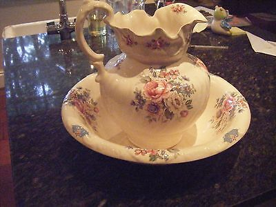 Ironstone England Floral Water Jug And Bowl