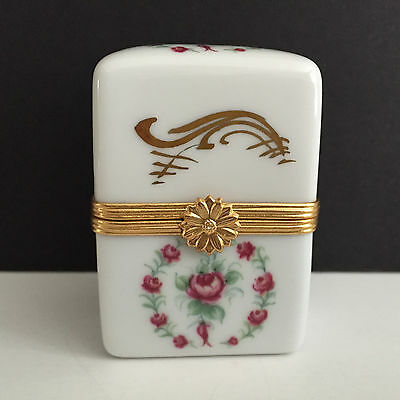 Limoges Trinket Box Tall Rose Oblong, Mint