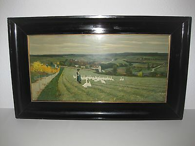 alte Lithographie PAUL HEY (1867-1952) Farblithographie im Holzrahmen 1903