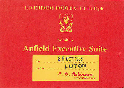 Ticket - Liverpool v Luton Town 29.10.83 Executive Suite
