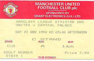Ticket - Manchester United v Crystal Palace 03.11.90
