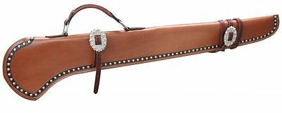 "Showman GUN SCABBARD 40"" Smooth LEATHER Black Trim SILVER Studs Engraved Buckles"