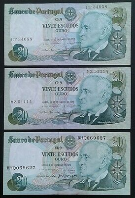 PORTUGAL _ 20 escudos banknotes x 3 _ all different signatures _ vf