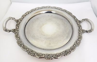 Wm A Rogers ROSE 19 x 15 Silverplate Round Serving Tray Platter Handled Onieda