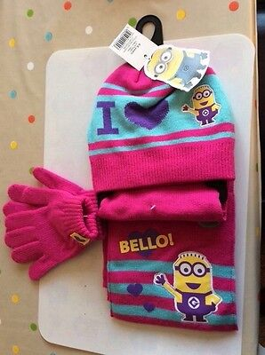 minnions hat scarf and glove set pink age 4-8years