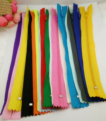 10pcs mix  Nylon Coil Zippers Tailor Sewer Craft 9 Inch Crafter's &FGDQRS