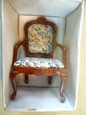 Collectable Dolls House Furniture-Upholstered Wooden Carver Dining Chair #4-BNIB
