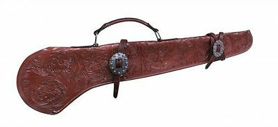 "Showman GUN SCABBARD 34"" FLORAL Tooled Medium LEATHER & Engraved Buckles"