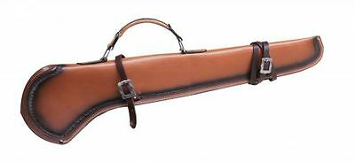 "Showman GUN SCABBARD 34"" Light LEATHER Scalloped BLACK Trim & SILVER Buckles"