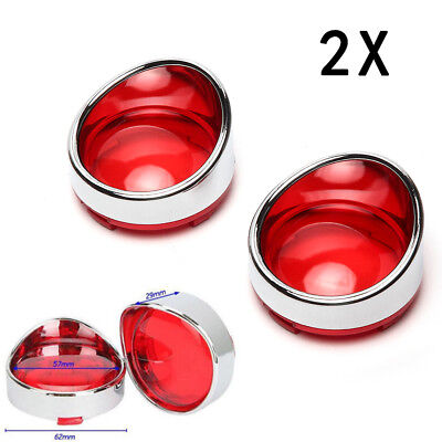 2X Turn Signal Light Red Lens Cover Chrome Trim Ring For Harley Softail Dyna New
