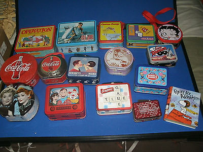 LOT OF 16 Collectible  Advertising and more -Mini Lunch Box Tins - nwt