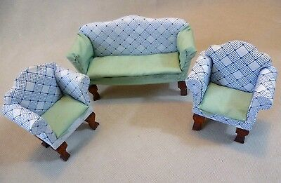 Collectable Dolls House Furniture - Part Re-Upholstered 3 Piece Suite
