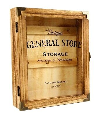 Vintage General Store Rustic Style Wooden Key Box Cabinet Wall Hanging