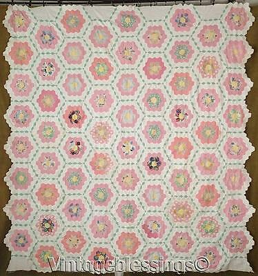 "Incredible! VINTAGE 30s Beautiful Flower Garden QUILT TOP 82"" x 78"""