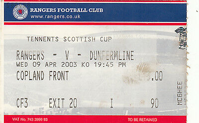 Ticket - Rangers v Dunfermline Athletic 09.04.2003 Scottish Cup