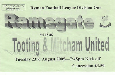 Ticket - Ramsgate v Tooting & Mitcham United 23.08.05