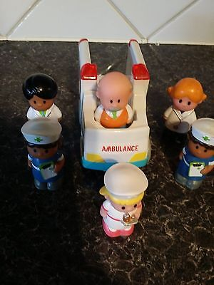 ELC Happyland collection of Ambulance and 6 figures - Used - see pictures