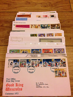 Job Lot of 54 UK GB FDC's First Day Covers from 1971 to 1980 Lot #A248