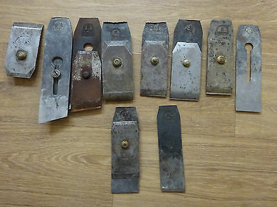 Vintage Carpentry plane irons x 10 - Old woodworking hand tools