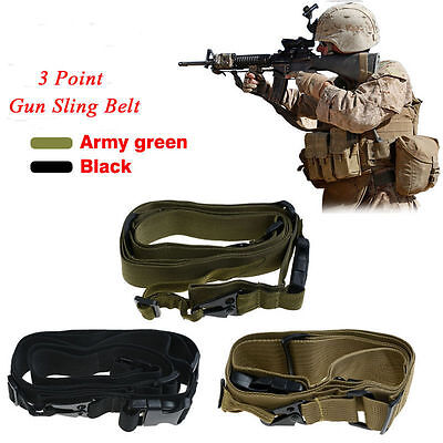 Tactical Three 3 Point Bungee Sling Adjustable Gun Strap System Rifle Hunting