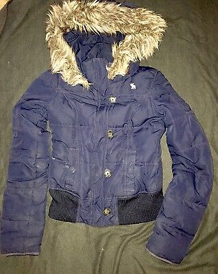 Abercrombie Kids Girls Puffer Goose Down Feathered Coat Size XL - Navy Color