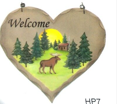 Wooden rustic country Lodge cabin Moose Welcome farmhouse decor plaque sign