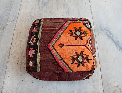 Handmade Vintage Big Size Pillow / Pouf Covered with Anatolian Multicolor Kilim