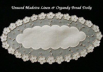 Beautiful Vtg MADEIRA Linen Organdy Bread Doily PRISTINE Unused w Label Hand Emb