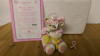 Support Promise Bears Hamilton Collection Breast Cancer Box COA & Ribbon Badge