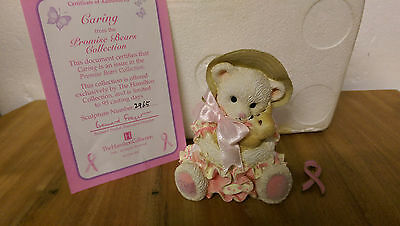 Caring Promise Bears Hamilton Collection Breast Cancer Box COA & Ribbon Badge