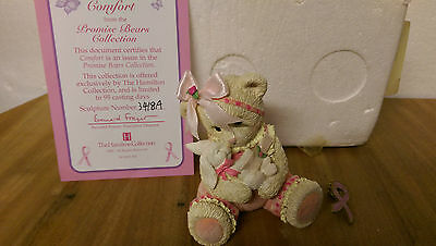 Comfort Promise Bears Hamilton Collection Breast Cancer Box COA & Ribbon Badge