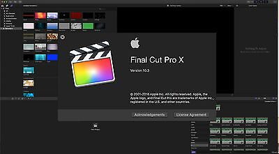 Final Cut Pro X 10.3 with Motion 5, Compressor 4 genuine disc and updates.